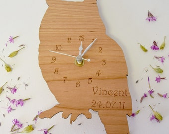 Owl Clock - Wooden Owl Clock - Personalised Clock - Personalised Owl Clock - Woodland Owl Clock - Children's Clocks - Gifts for Kids