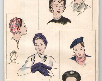 Vogue 6124  Vintage 1940's  Turban and Beret Hats