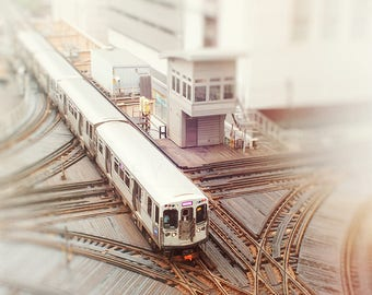 Chicago Art, Wall Art Print, Train Photography, Chicago El Print - Photograph Trains, Beige, Purple, Nursery Art, Boys Room, Chicago Artwork