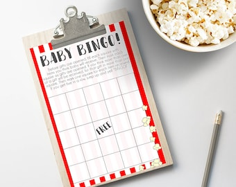 Baby Bingo Gift Game for Ready to Pop! Baby Shower Instant Download 8.5x11 PDF & JPEG Red