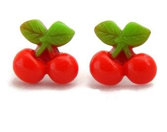 Retro Red Cherry Earrings, Rockabilly jewelry