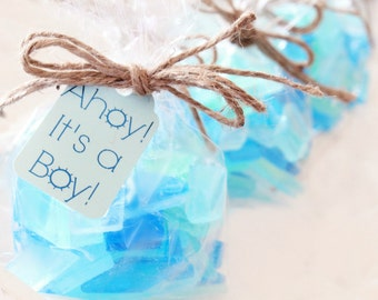 Beach Baby Shower Favors - Blue Baby Shower Favors - It's a Boy - Sea Glass Favors - Nautical Baby Shower - Baby Boy Shower Favors