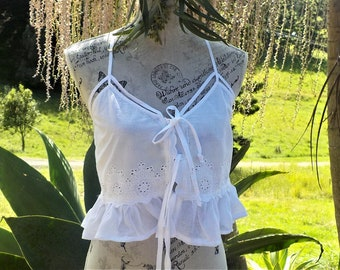 camisole top - white cotton - boho altered couture -  m