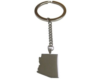 Arizona State Map Shape Pendant Keychain