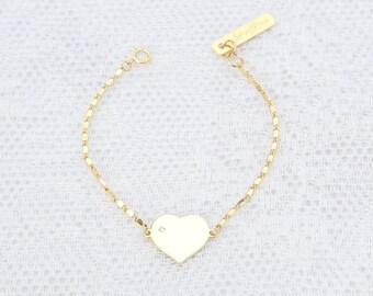 Gold Heart Bracelet, Dainty Love Bracelet, Friendship Bracelet, Bridesmaid Bracelet, Layered Bracelet, Everyday Gold Filled Jewelry.