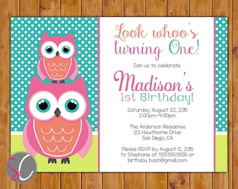 Owl Look Whoo's Turning One 1st First Any Age Birthday Party Invitation Printable Coral Pink 5x7 Digital JPG (106)