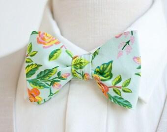 Bow Ties, Bow Tie, Bowties, Mens Bow Ties, Freestyle Bow Ties, Self-Tie Bow Ties, Groomsmen Bow Ties, Rifle Paper Co - Jardin De Paris Mint