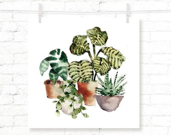 Plants - Houseplants - Potted Plants - Greenery - Leaves - Watercolor - Art Print - Wall Art