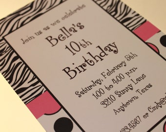 Zebra Print Invitations - Different Colors Available