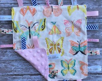 Sensory blanket//sensory lovey//lovey with ribbons