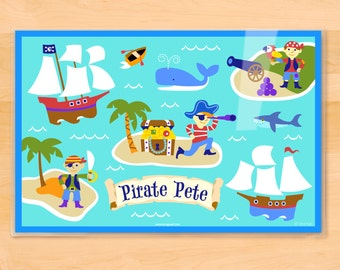 Kids Personalized Pirates Placemat, Olive Kids Pirates Placemat, Kids Placemat, Laminated Placemat, Pirate Ship, Sharks, Treasure