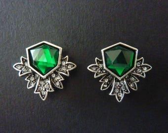 Emerald Earrings Art Deco Earrings Great Gatsby Earrings Vintage Earrings Art Nouveau Earrings Downton Abbey Downtown Abbey Bridal Weddding