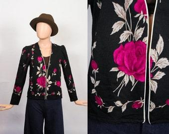 70s Shirt Jacket Floral Rose Print Top Flower 1970s Cardigan Blouse Secretary Puff Sleeve Shirt Kawaii 80s Retro Groovy 1980s Medium