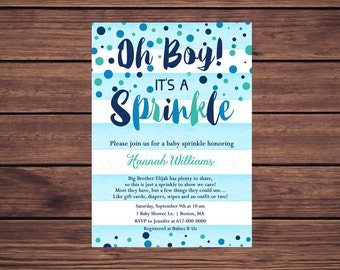 Baby Sprinkle Invitation Boy, Blue Watercolor Stripes Blue Teal Confetti Baby Sprinkle Invitation, Navy Blue Baby Boy Sprinkle  204