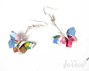 Floral Origami butterfly earrings
