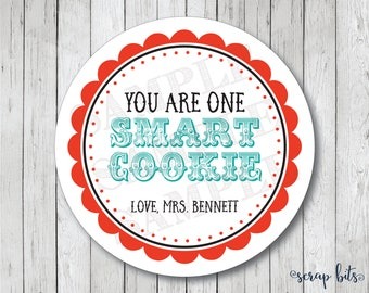 You Are One Smart Cookie Stickers, Personalized Cookie Tags, Teacher Stickers, School Stickers, Smart Cookie Tags