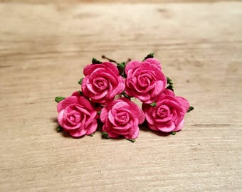 Dark Pink Rose Hairpin, Wedding Hair Piece, Gift for Her, Flower Hair Pins, Christmas Gift, Hair Accessory