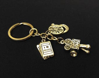 I LOVE MOVIES Movie Lovers Tickets Film Camera Silver Metal Charm Keychain Key Ring Unique Gift