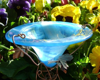 BIRD and BUTTERFLY FEEDER, Office Garden Gift, stained glass, Aqua, copper garden art, Garden Stake