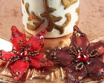 Prima Flowers - Caravan Morrocco Red - Fabric Flowers - Scrapbooking - Artificial Flowers