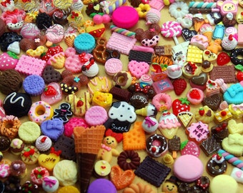 50 PCS X Mix Dollhouse food Cabochon Miniature Sweets Cabochon Assorted Kawaii Cookies Biscuit Candy Lollipop Chocolate Bar Flat Back AK.SW