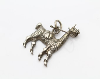 Antique Victorian Sterling Silver Hand Crafted Llama Figural Pendant. [8921]