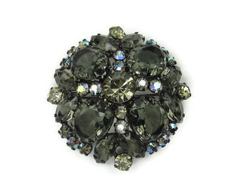 Juliana Black Rhinestone Brooch