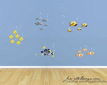 Kids Fish Wall Decals, Ocean and Under the Sea Theme