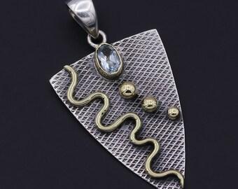 "Aqua Apatite Two Tone Gemstone 925 Sterling Silver Jewelry Pendant 1.68"""