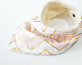 Pink Bandana Bib | Baby Girl Bib | Pink Baby Bib | Pink Chevron Bibdana | Girl Bibdana | Chevron Baby Bib | Girl Baby Shower Gift