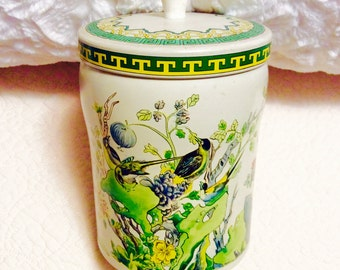 Vintage Asian Bird Tin Box with Knob made in England 1960s Green Yellow