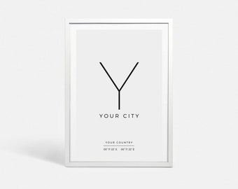Custom coordinates sign Latitude longitude GPS coordinates print Custom city art print Custom longitude latitude sign art Custom print gifts