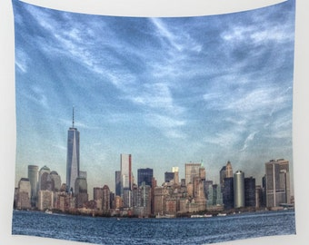 New York Tapestry, HDR Manhattan, Landscape Wall Tapestry, City Photography, urban, Blue wall art, modern, NYC, garden, dorm, Office