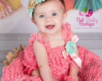 Cake Smash Outfit - 3, 4, 5 pc SET- Baby Girl 1st Birthday Outfit - Coral Mint Gold Baby Romper - Baby Girl Clothes - 6 month photo shoot