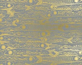 Cotton + Steel From Porto With Love - sardinha metallic gold  - fat quarter