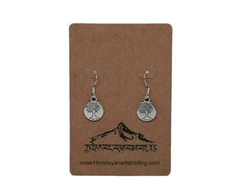 Tree of life silver plated drop earrings