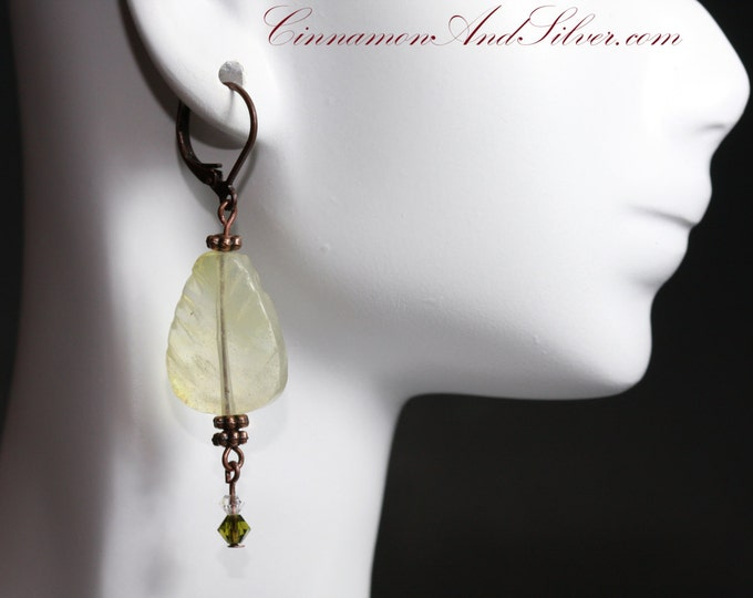 Pale Yellow and Antiqued Copper Rustic Carved Gemstone-Look Leaf Earrings, Yellow Stone Leaf and Copper Dangle Earrings