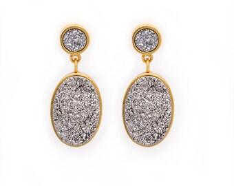 Statement Druzy Drop Earrings - Silver Druzy Quartz in Gold Earrings - Round and Oval Drop Druzy Earrings