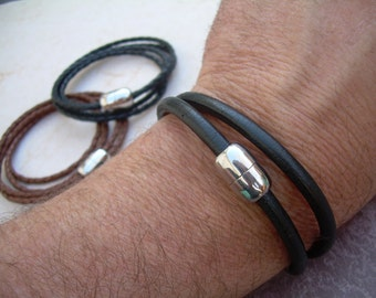 Mens Leather Bracelet - Double Wrap -  with Stainless Steel Magnetic Clasp, Leather Bracelet, Mens Bracelet, Mens Jewelry, Mens Gift