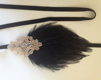 Champagne Beaded Headpiece,  Great Gatsby Black Feather Flapper 1920s hair accessory, champagne headband, beige OR black feather headpiece