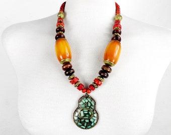 Vibrant Ethnic Highly Polished Stone and Brass Pendant / Necklace 1960s Boho Gypsy