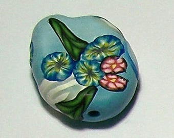 Light Blue Floral Embellished Polymer Clay Focal Bead by Carol Wilson of PollyClayDesigns