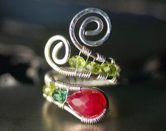 "Ruby Ring, Gemstone Silver Wirework Ring - Berry Red Ruby Quartz, Chrome Apatite, Vessonite, Peridot, July Birthstone - ""Strawberry Fields"""