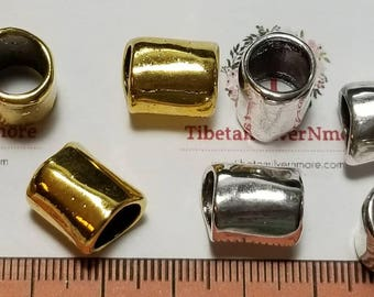 8 pcs per pack 10x12mm 8mm diameter Plain Large Hole Tube Antique Silver or Gold Finish Lead free Pewter