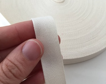 "1/2"" Cotton Ribbon, Natural Cotton twill tape, EXTRA FINE herringbone tape or grosgrain tape / fine sewing tape / raw ribbon"