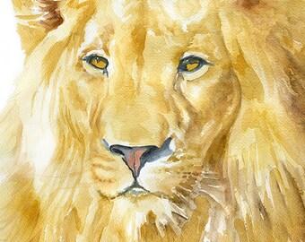 Lion Watercolor Painting - 5 x 7 - Giclee Print - Fine Art Print - African Animal - Nursery Art