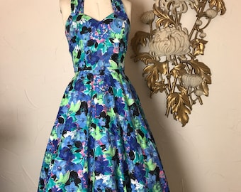 1980s dress halter dress vintage dress 80s sundress size small Roberta dress 50s style dress floral dress full skirt dress rockabilly dress