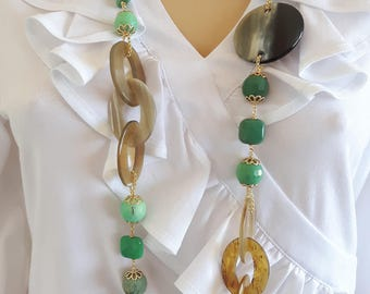 Chrysoprase and horn gemstone necklace, long necklace