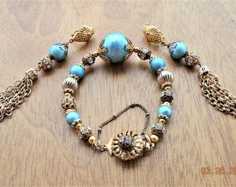 "Blue Bracelet 8"",Earrings Set,Spun Aqua Cotton Ball Beads,Vintage Rhinestone Balls, all VTG Findings Gold Tone Long Tassel Pierced"
