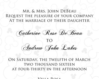 Touch of Mickey/Disney Wedding Anniversary Birthday Invitation